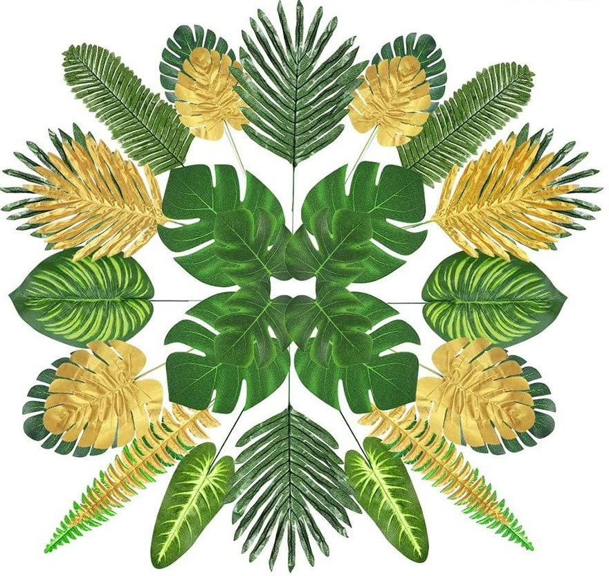 MQUPIN 80 Pieces Artificial Palm Leaves with Faux