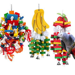 MQUPIN Bird Toy Parrot Toy Made with Nature Wood